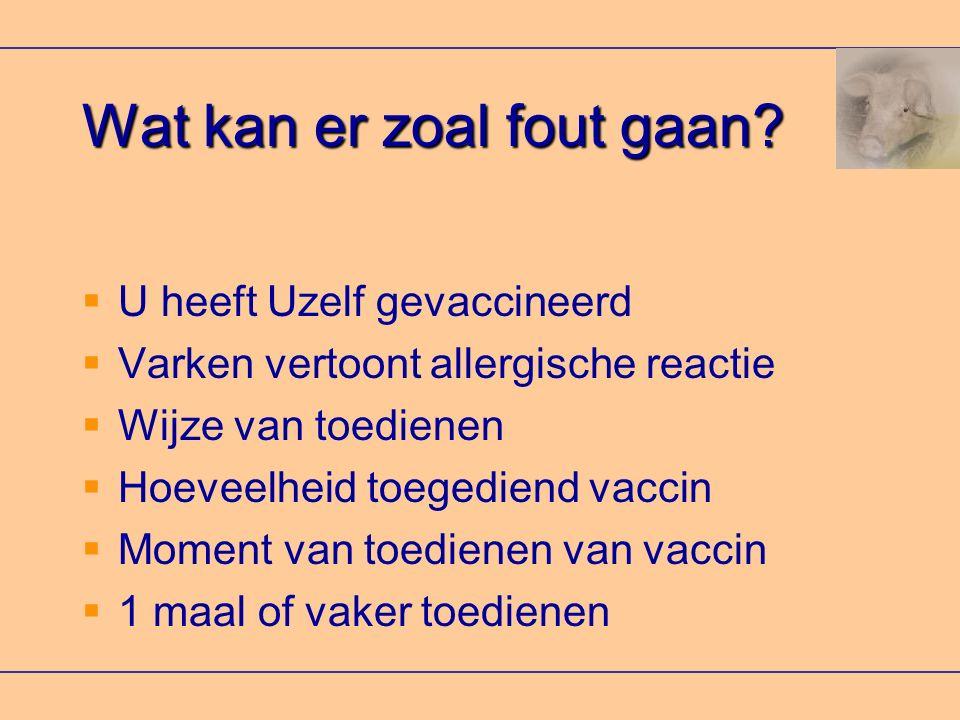 Wat kan er zoal fout gaan?  U heeft Uzelf gevaccineerd  Varken vertoont allergische reactie  Wijze van toedienen  Hoeveelheid toegediend vaccin 