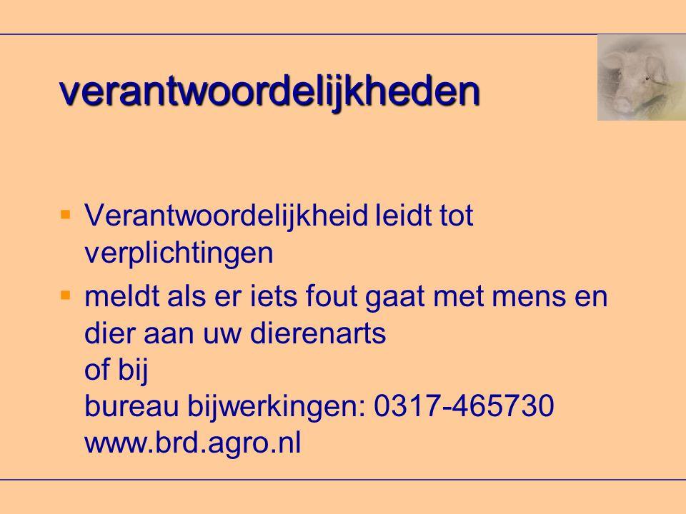 verantwoordelijkheden  Verantwoordelijkheid leidt tot verplichtingen  meldt als er iets fout gaat met mens en dier aan uw dierenarts of bij bureau bijwerkingen: 0317-465730 www.brd.agro.nl