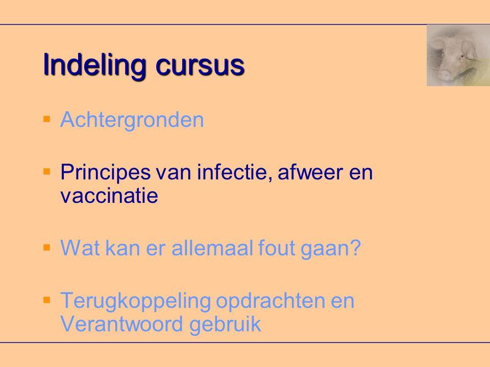 Indeling cursus  Achtergronden  Principes van infectie, afweer en vaccinatie  Wat kan er allemaal fout gaan.
