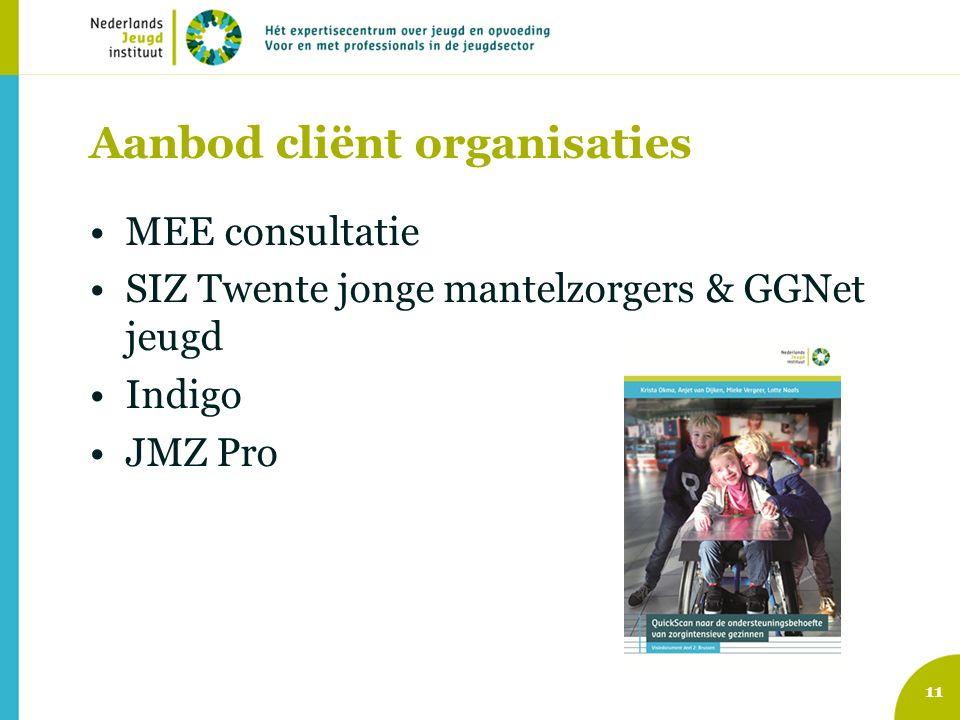 Aanbod cliënt organisaties MEE consultatie SIZ Twente jonge mantelzorgers & GGNet jeugd Indigo JMZ Pro 11