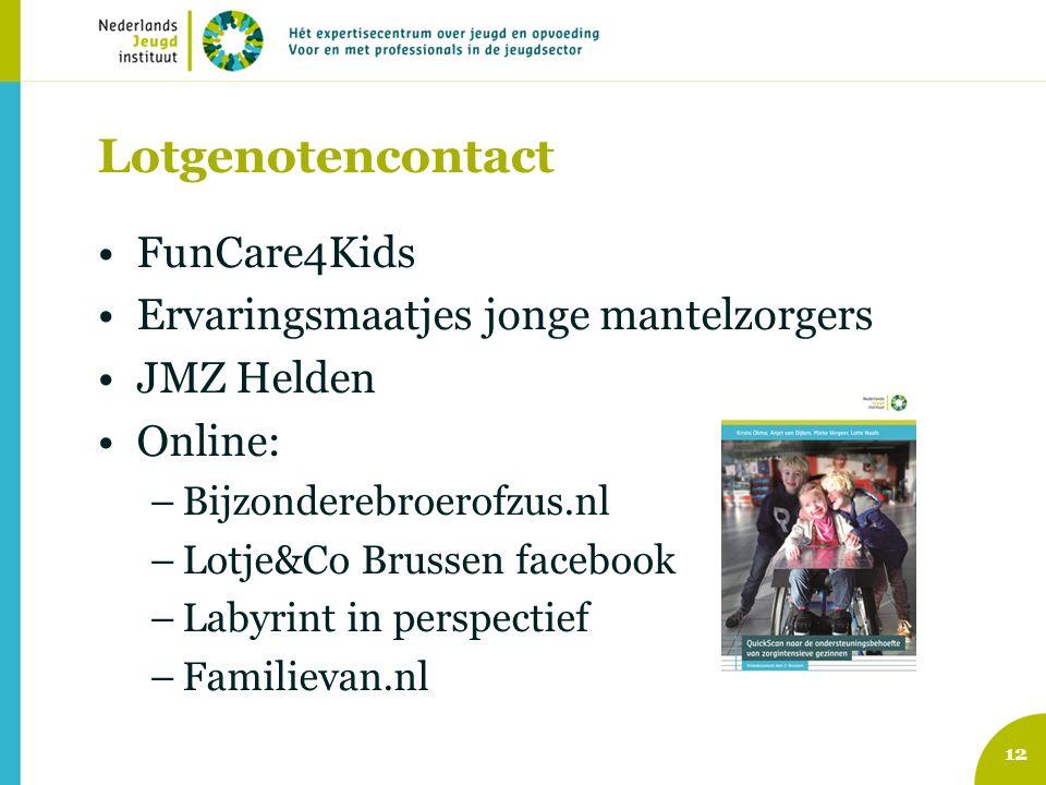 Lotgenotencontact FunCare4Kids Ervaringsmaatjes jonge mantelzorgers JMZ Helden Online: –Bijzonderebroerofzus.nl –Lotje&Co Brussen facebook –Labyrint i