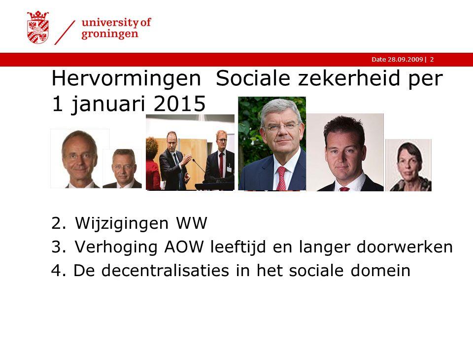 |Date 28.09.2009 Hervormingen Sociale zekerheid per 1 januari 2015 2 2.Wijzigingen WW 3.Verhoging AOW leeftijd en langer doorwerken 4.