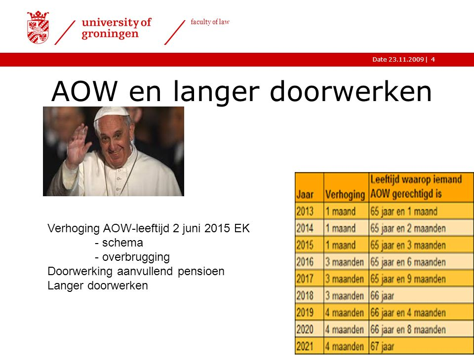 |Date 23.11.2009 faculty of law AOW en langer doorwerken 4 Verhoging AOW-leeftijd 2 juni 2015 EK - schema - overbrugging Doorwerking aanvullend pensioen Langer doorwerken