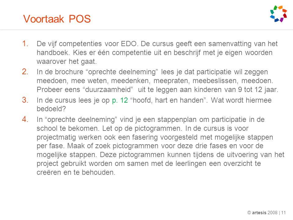 Voortaak POS 1. De vijf competenties voor EDO. De cursus geeft een samenvatting van het handboek.