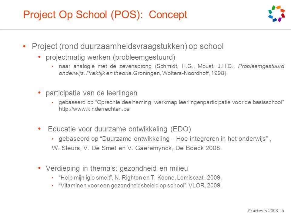 Project Op School (POS): Concept Project (rond duurzaamheidsvraagstukken) op school projectmatig werken (probleemgestuurd) naar analogie met de zevensprong (Schmidt, H.G., Moust, J.H.C., Probleemgestuurd onderwijs.