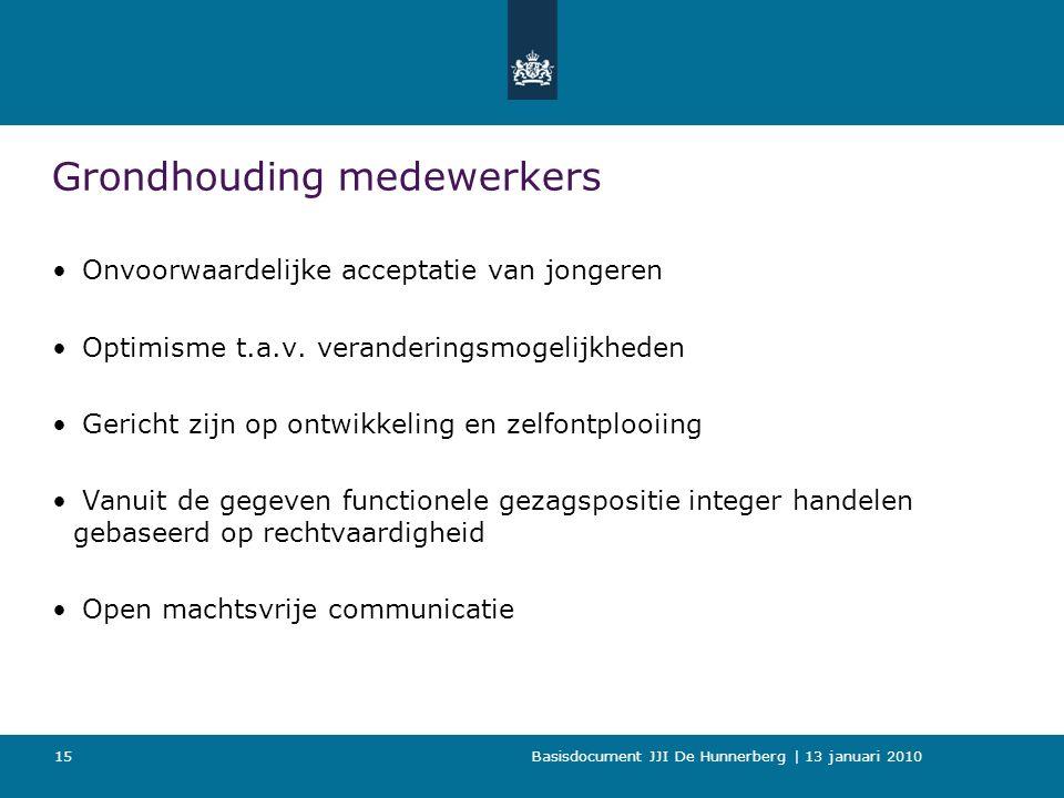 Basisdocument JJI De Hunnerberg | 13 januari 2010 15 Grondhouding medewerkers Onvoorwaardelijke acceptatie van jongeren Optimisme t.a.v.