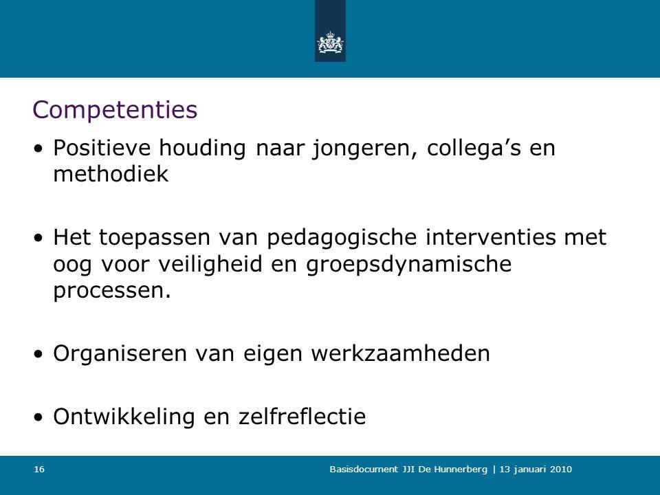 Basisdocument JJI De Hunnerberg | 13 januari 2010 Competenties Positieve houding naar jongeren, collega's en methodiek Het toepassen van pedagogische interventies met oog voor veiligheid en groepsdynamische processen.