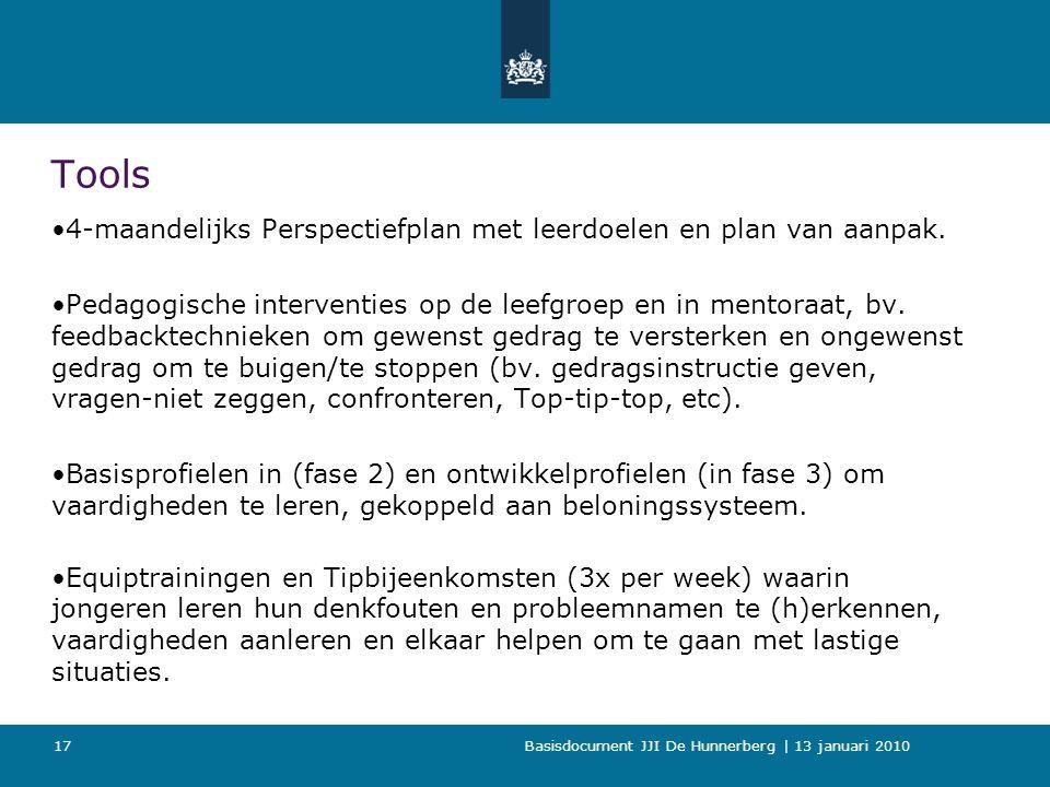 Basisdocument JJI De Hunnerberg | 13 januari 2010 17 Tools 4-maandelijks Perspectiefplan met leerdoelen en plan van aanpak.