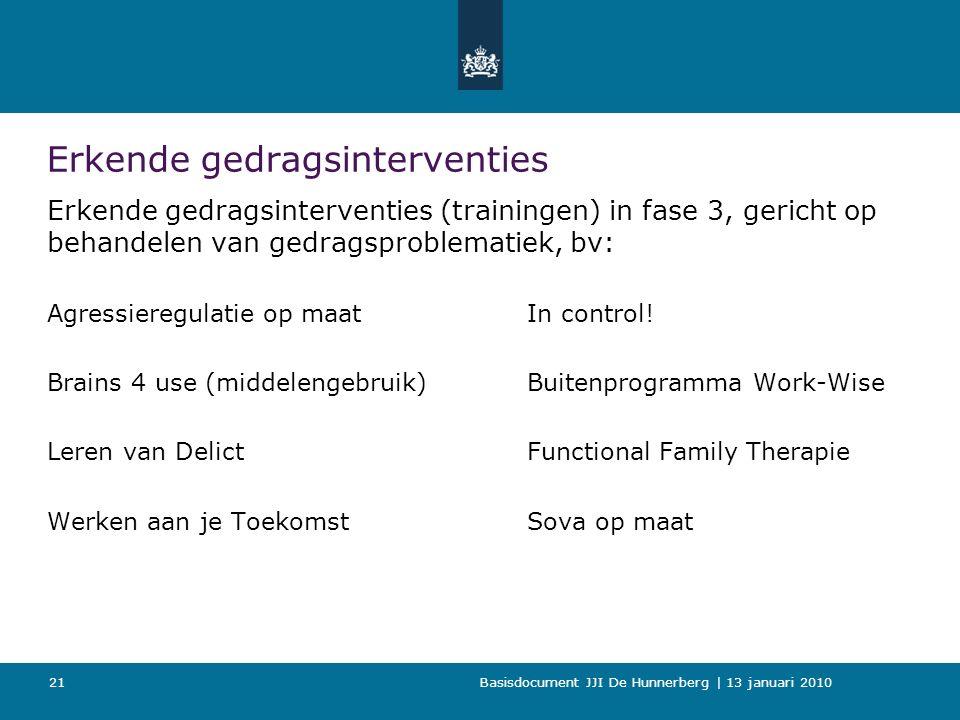 Basisdocument JJI De Hunnerberg | 13 januari 2010 21 Erkende gedragsinterventies Erkende gedragsinterventies (trainingen) in fase 3, gericht op behandelen van gedragsproblematiek, bv: Agressieregulatie op maatIn control.