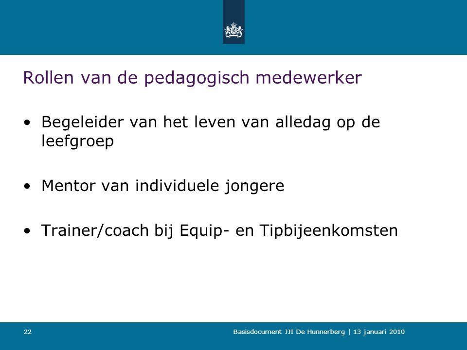 Basisdocument JJI De Hunnerberg | 13 januari 2010 22 Rollen van de pedagogisch medewerker Begeleider van het leven van alledag op de leefgroep Mentor van individuele jongere Trainer/coach bij Equip- en Tipbijeenkomsten