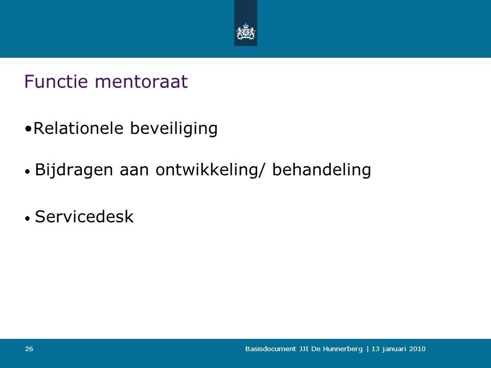Basisdocument JJI De Hunnerberg | 13 januari 2010 26 Functie mentoraat Relationele beveiliging Bijdragen aan ontwikkeling/ behandeling Servicedesk