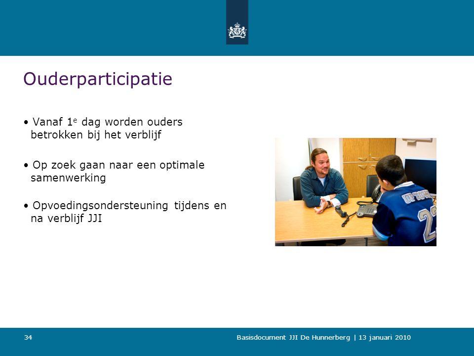 Basisdocument JJI De Hunnerberg | 13 januari 2010 34 Ouderparticipatie Vanaf 1 e dag worden ouders betrokken bij het verblijf Op zoek gaan naar een optimale samenwerking Opvoedingsondersteuning tijdens en na verblijf JJI