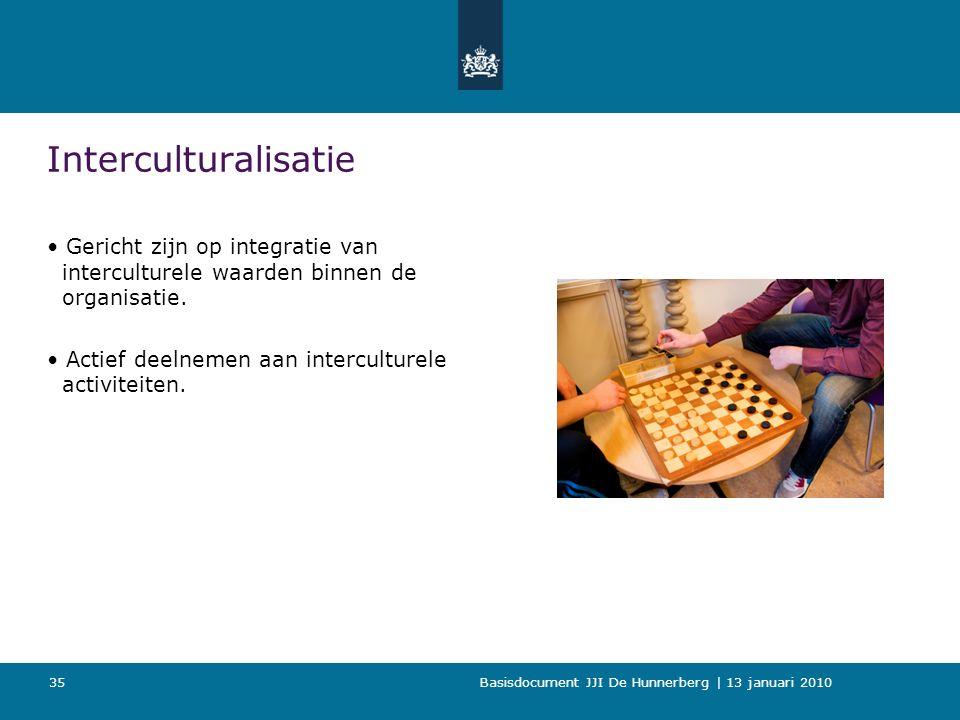 Basisdocument JJI De Hunnerberg | 13 januari 2010 35 Interculturalisatie Gericht zijn op integratie van interculturele waarden binnen de organisatie.
