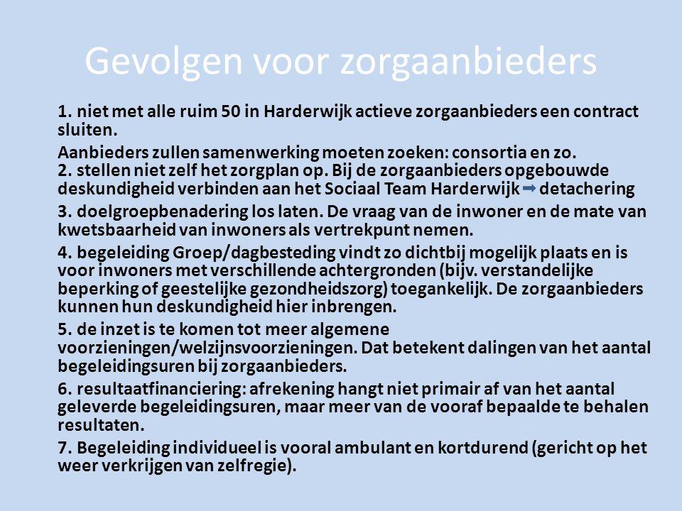 Gevolgen voor zorgaanbieders 1. niet met alle ruim 50 in Harderwijk actieve zorgaanbieders een contract sluiten. Aanbieders zullen samenwerking moeten
