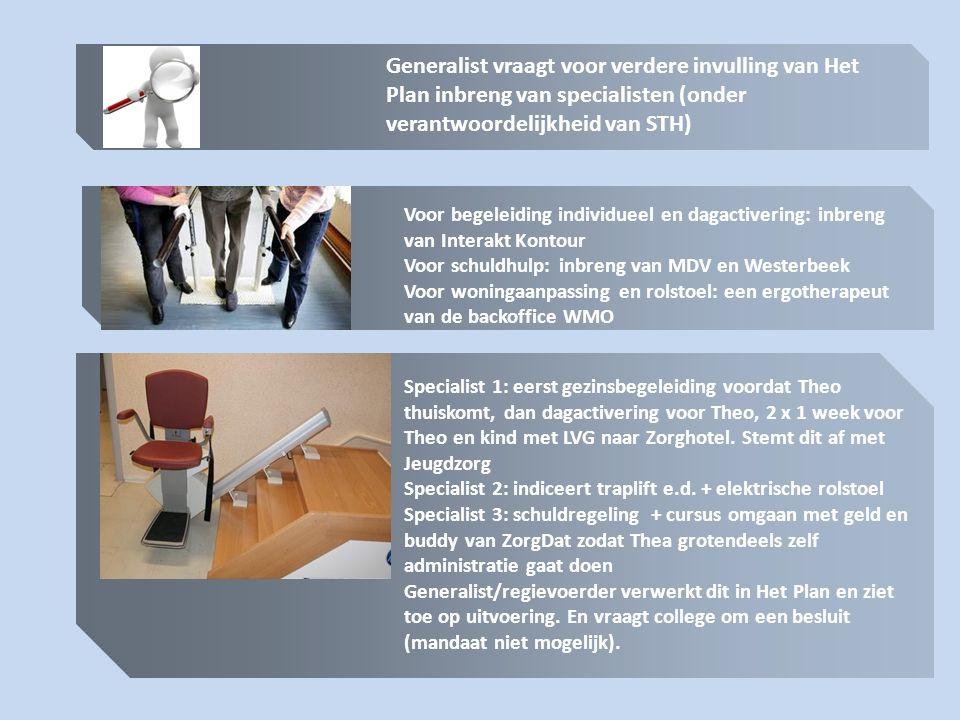 Generalist vraagt voor verdere invulling van Het Plan inbreng van specialisten (onder verantwoordelijkheid van STH) Voor begeleiding individueel en da