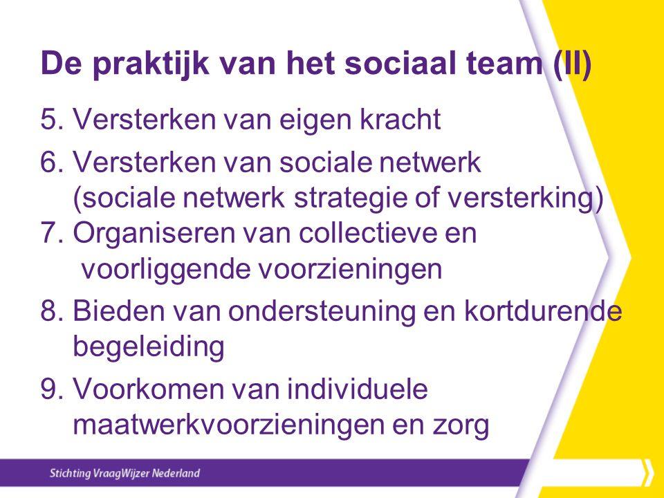 De praktijk van het sociaal team (II) 5. Versterken van eigen kracht 6. Versterken van sociale netwerk (sociale netwerk strategie of versterking) 7. O