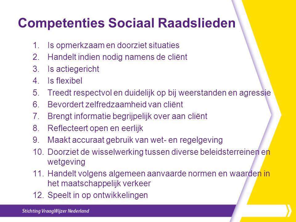 Competenties Sociaal Raadslieden 1.Is opmerkzaam en doorziet situaties 2.Handelt indien nodig namens de cliënt 3.Is actiegericht 4.Is flexibel 5.Treed