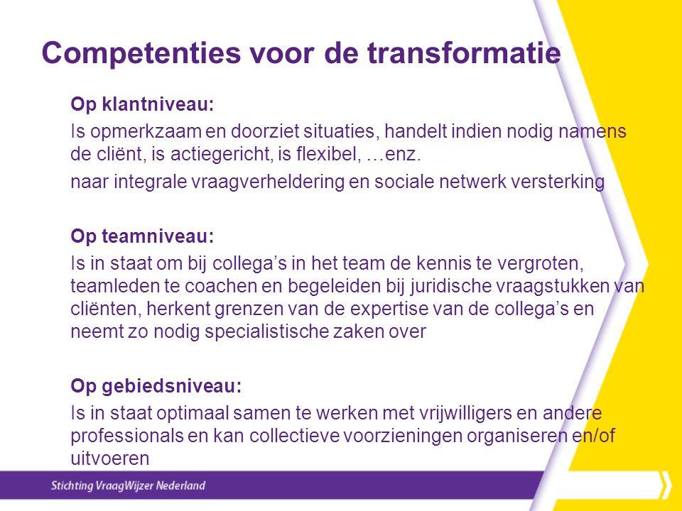 Competenties voor de transformatie Op klantniveau: Is opmerkzaam en doorziet situaties, handelt indien nodig namens de cliënt, is actiegericht, is flexibel, …enz.