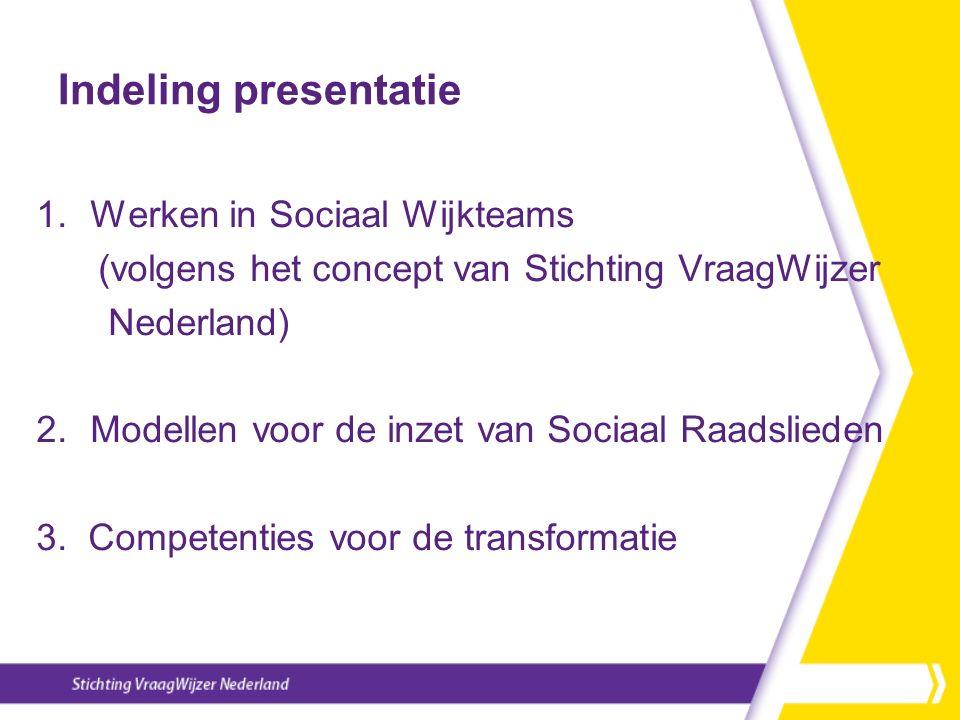 Indeling presentatie 1.Werken in Sociaal Wijkteams (volgens het concept van Stichting VraagWijzer Nederland) 2.Modellen voor de inzet van Sociaal Raadslieden 3.