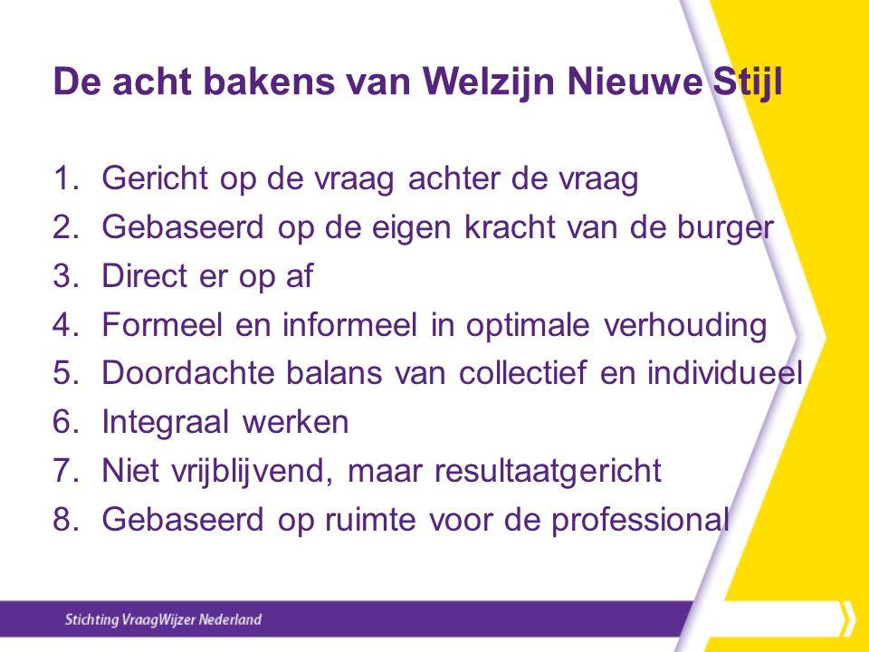 De acht bakens van Welzijn Nieuwe Stijl 1.Gericht op de vraag achter de vraag 2.Gebaseerd op de eigen kracht van de burger 3.Direct er op af 4.Formeel