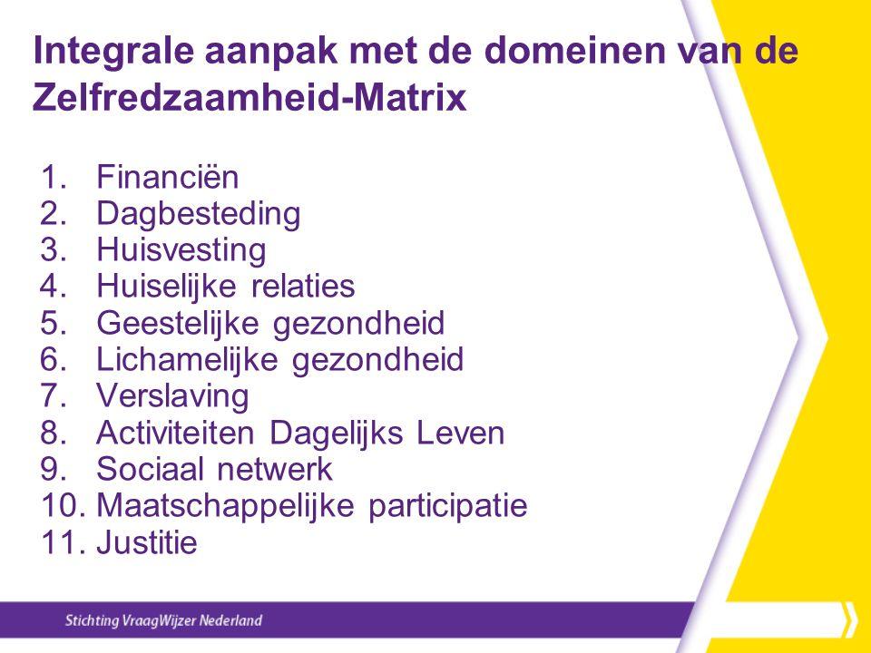 Integrale aanpak met de domeinen van de Zelfredzaamheid-Matrix 1. Financiën 2. Dagbesteding 3. Huisvesting 4. Huiselijke relaties 5. Geestelijke gezon