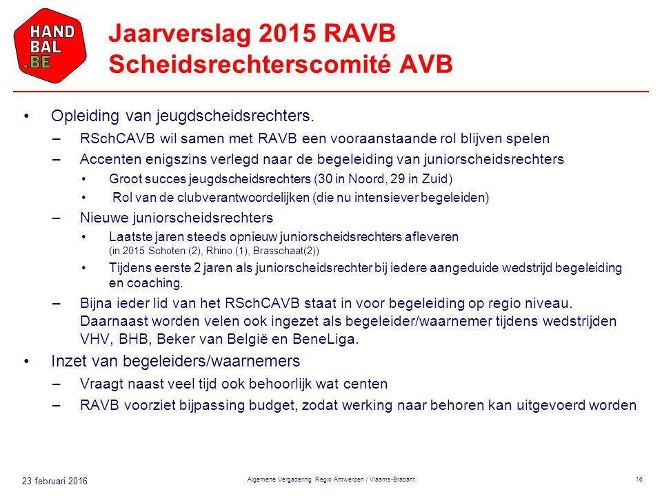 23 februari 2016 Jaarverslag 2015 RAVB Scheidsrechterscomité AVB Opleiding van jeugdscheidsrechters.