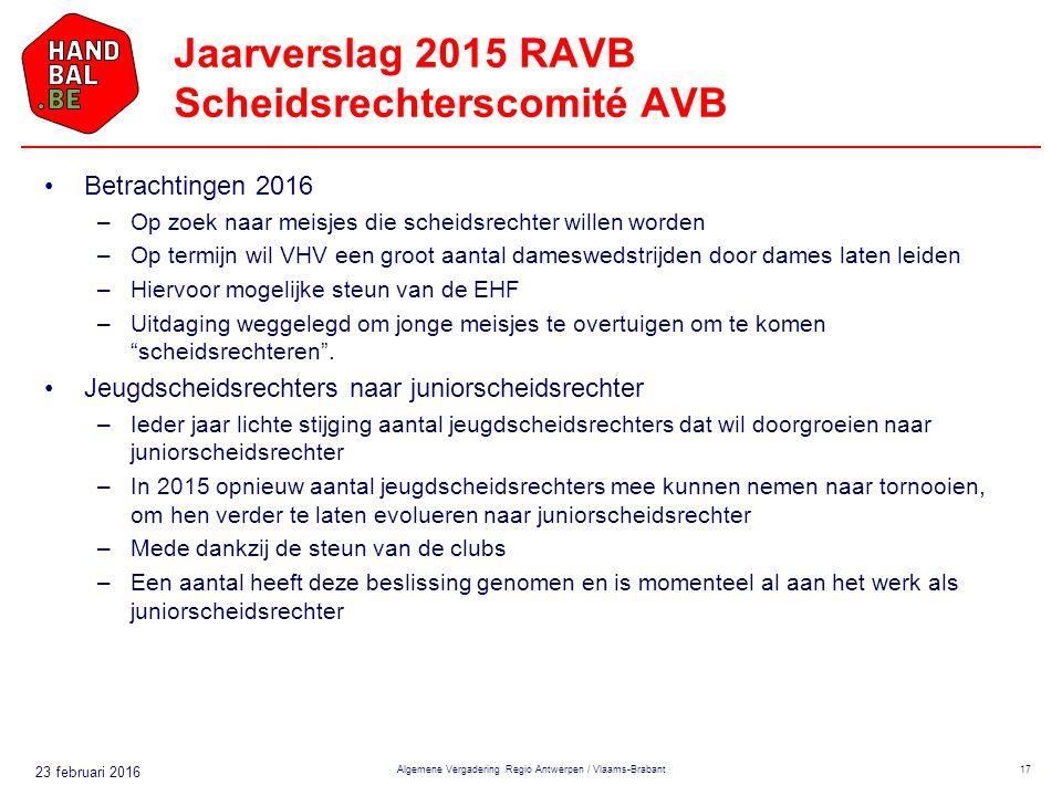 23 februari 2016 Jaarverslag 2015 RAVB Scheidsrechterscomité AVB Betrachtingen 2016 –Op zoek naar meisjes die scheidsrechter willen worden –Op termijn wil VHV een groot aantal dameswedstrijden door dames laten leiden –Hiervoor mogelijke steun van de EHF –Uitdaging weggelegd om jonge meisjes te overtuigen om te komen scheidsrechteren .