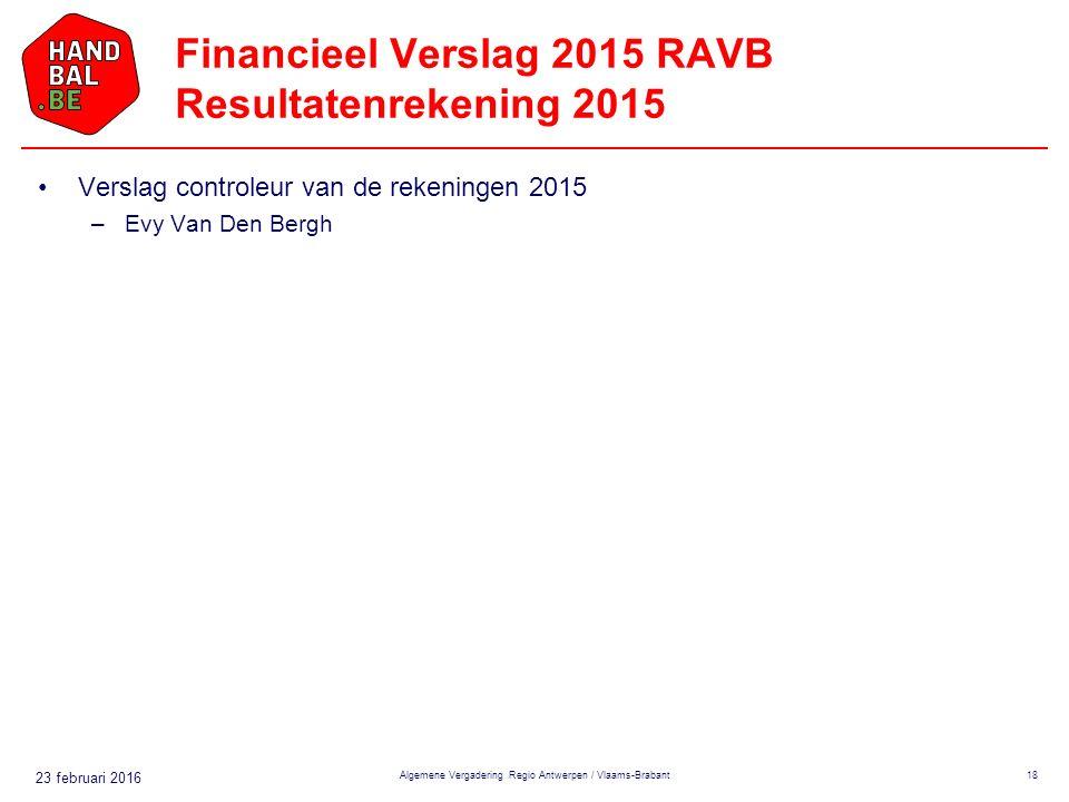 23 februari 2016 Financieel Verslag 2015 RAVB Resultatenrekening 2015 Verslag controleur van de rekeningen 2015 –Evy Van Den Bergh Algemene Vergadering Regio Antwerpen / Vlaams-Brabant18
