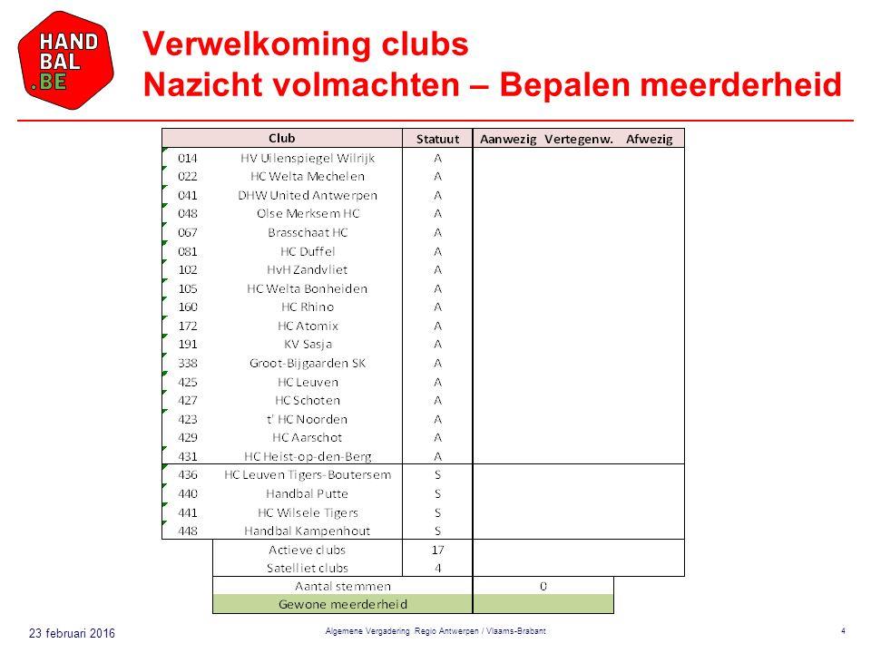 23 februari 2016 Verwelkoming clubs Nazicht volmachten – Bepalen meerderheid Algemene Vergadering Regio Antwerpen / Vlaams-Brabant4