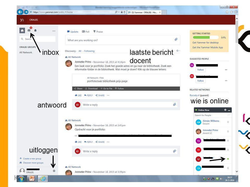 10 inbox laatste bericht docent wie is online antwoord uitloggen