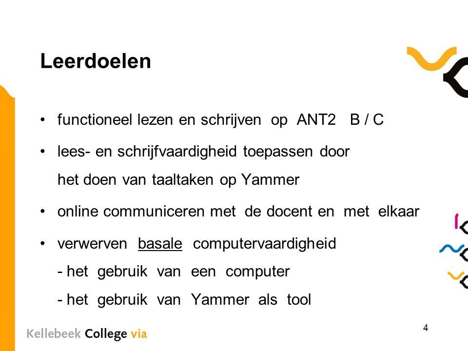 Leerdoelen functioneel lezen en schrijven op ANT2 B / C lees- en schrijfvaardigheid toepassen door het doen van taaltaken op Yammer online communiceren met de docent en met elkaar verwerven basale computervaardigheid - het gebruik van een computer - het gebruik van Yammer als tool 4