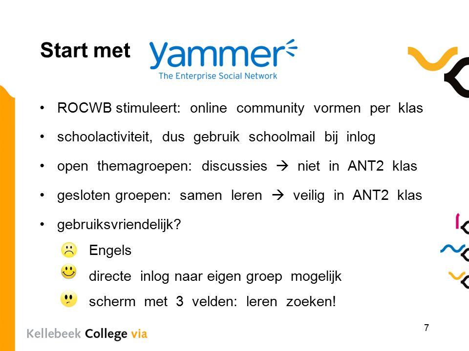 Start met ROCWB stimuleert: online community vormen per klas schoolactiviteit, dus gebruik schoolmail bij inlog open themagroepen: discussies  niet in ANT2 klas gesloten groepen: samen leren  veilig in ANT2 klas gebruiksvriendelijk.