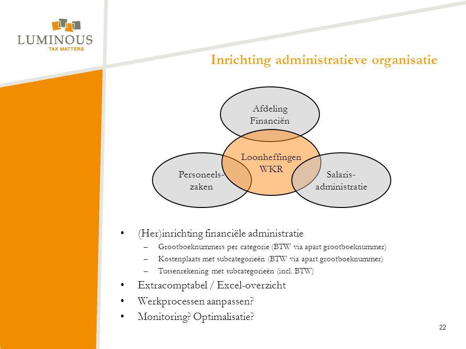 Inrichting administratieve organisatie (Her)inrichting financiële administratie –Grootboeknummers per categorie (BTW via apart grootboeknummer) –Koste
