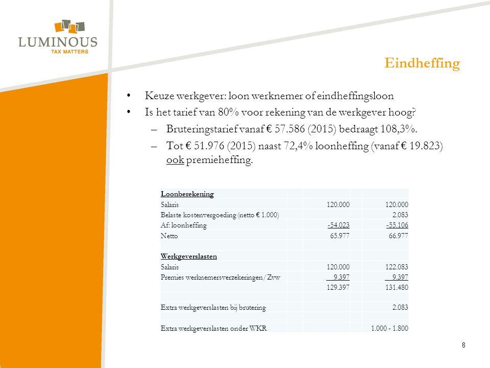 Eindheffing Keuze werkgever: loon werknemer of eindheffingsloon Is het tarief van 80% voor rekening van de werkgever hoog? –Bruteringstarief vanaf € 5