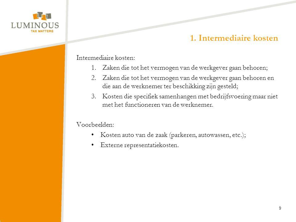 1. Intermediaire kosten Intermediaire kosten: 1.Zaken die tot het vermogen van de werkgever gaan behoren; 2.Zaken die tot het vermogen van de werkgeve