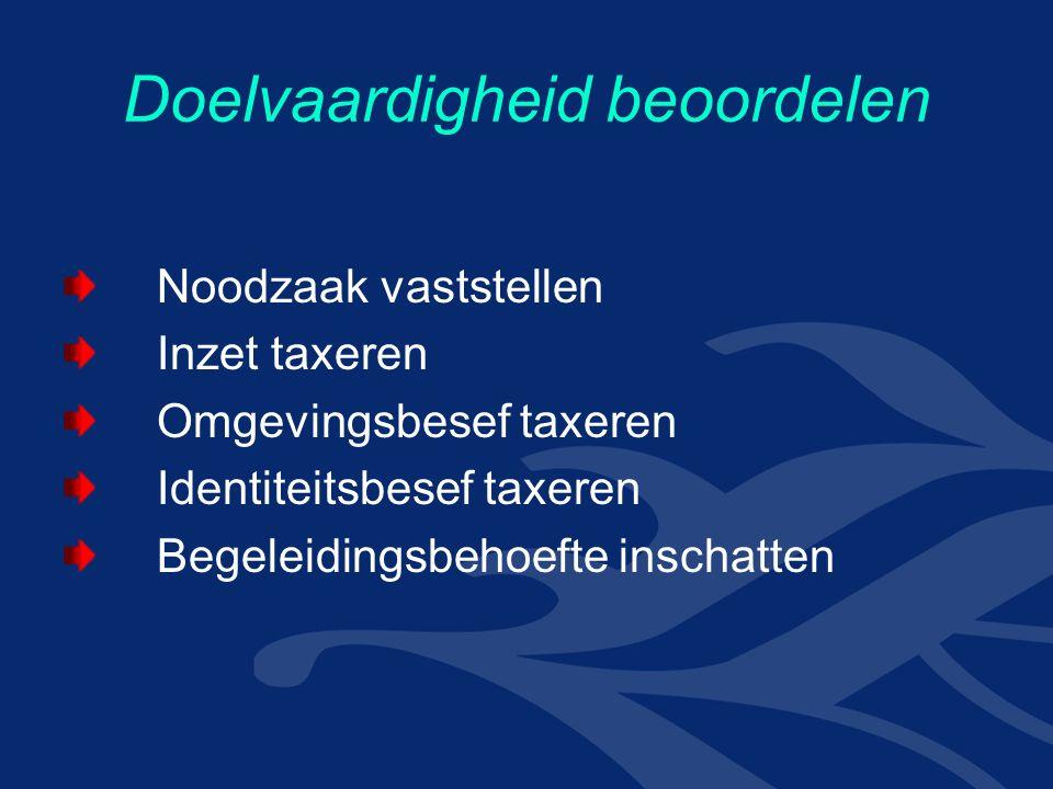 Doelvaardigheid beoordelen Noodzaak vaststellen Inzet taxeren Omgevingsbesef taxeren Identiteitsbesef taxeren Begeleidingsbehoefte inschatten
