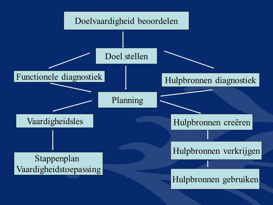 Doelvaardigheid beoordelen Doel stellen Functionele diagnostiek Hulpbronnen diagnostiek Planning Vaardigheidsles Stappenplan Vaardigheidstoepassing Hulpbronnen creëren Hulpbronnen verkrijgen Hulpbronnen gebruiken