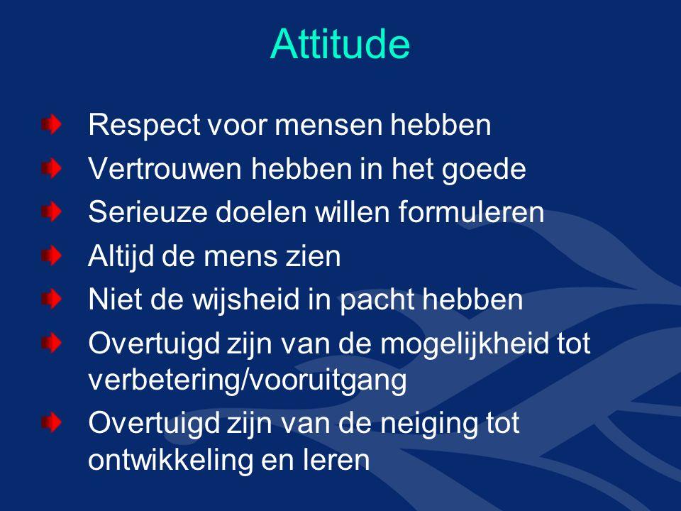 Attitude Respect voor mensen hebben Vertrouwen hebben in het goede Serieuze doelen willen formuleren Altijd de mens zien Niet de wijsheid in pacht hebben Overtuigd zijn van de mogelijkheid tot verbetering/vooruitgang Overtuigd zijn van de neiging tot ontwikkeling en leren