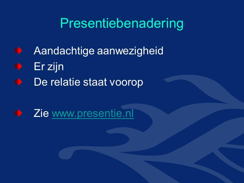 Presentiebenadering Aandachtige aanwezigheid Er zijn De relatie staat voorop Zie www.presentie.nlwww.presentie.nl