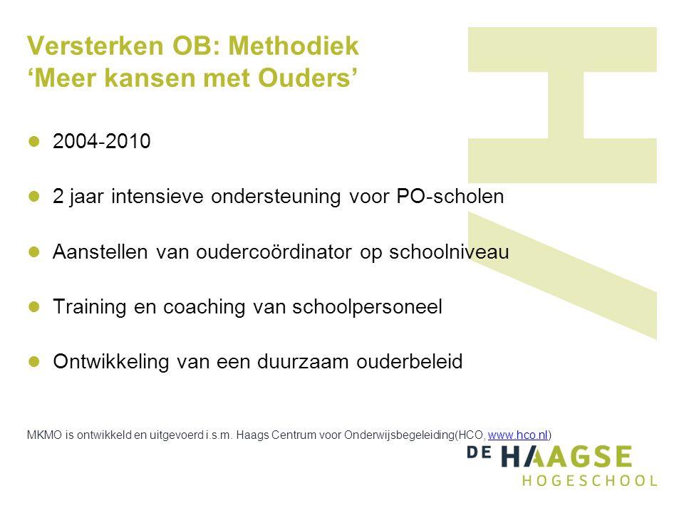 Versterken OB: Methodiek 'Meer kansen met Ouders' 2004-2010 2 jaar intensieve ondersteuning voor PO-scholen Aanstellen van oudercoördinator op schooln