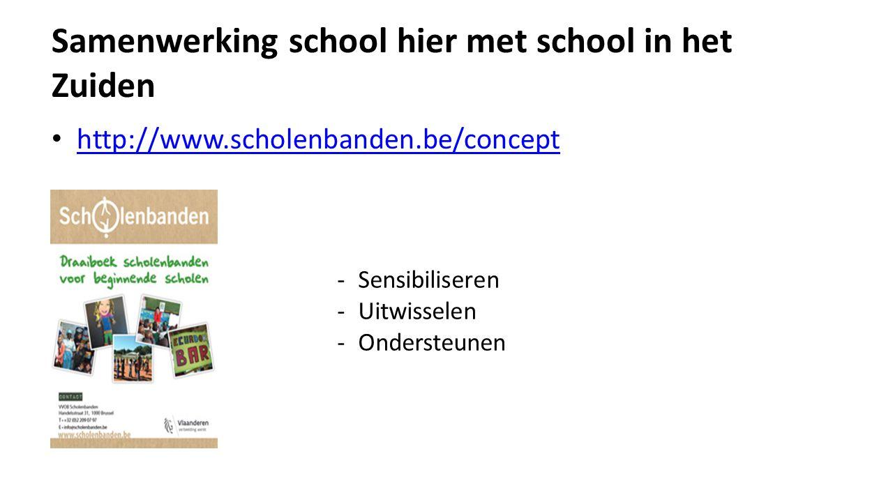 Samenwerking school hier met school in het Zuiden http://www.scholenbanden.be/concept -Sensibiliseren -Uitwisselen -Ondersteunen
