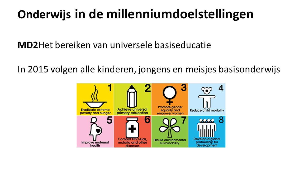 Onderwijs in de millenniumdoelstellingen MD2Het bereiken van universele basiseducatie In 2015 volgen alle kinderen, jongens en meisjes basisonderwijs