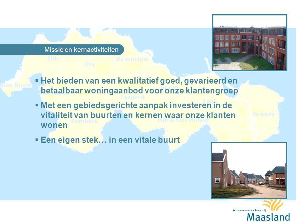 Woonmaatschappij Maasland  Regionaal werkzaam in 11 gemeenten, > 50 kernen  Ontstaan uit gemeentelijke woningbedrijven en fusies tussen corporaties  Zelfstandig ondernemer  Maatschappelijk ondernemer