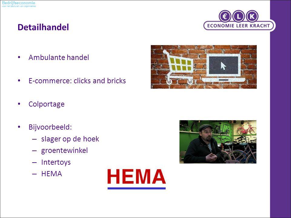 voor het besturen van organisaties Bedrijfseconomie Detailhandel Ambulante handel E-commerce: clicks and bricks Colportage Bijvoorbeeld: – slager op de hoek – groentewinkel – Intertoys – HEMA