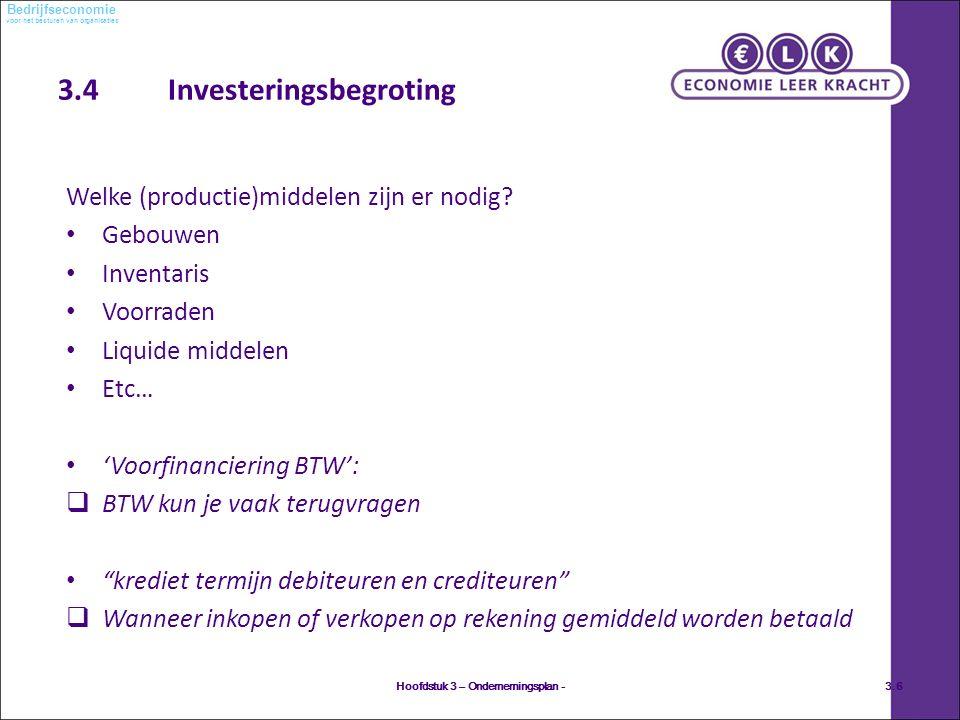 voor het besturen van organisaties Bedrijfseconomie 3.4 Investeringsbegroting Welke (productie)middelen zijn er nodig.