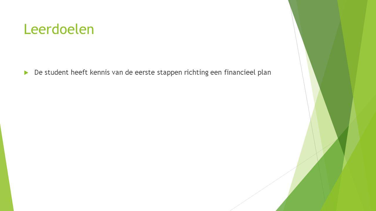 Leerdoelen  De student heeft kennis van de eerste stappen richting een financieel plan