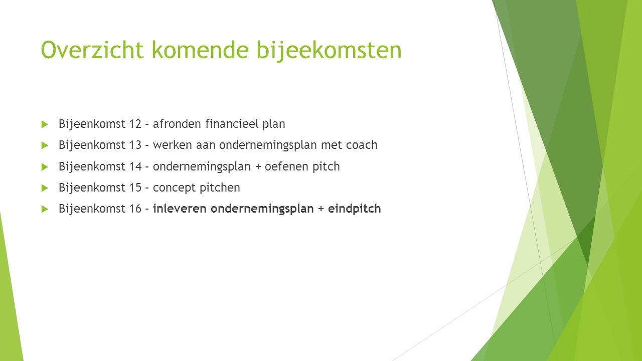 Overzicht komende bijeekomsten  Bijeenkomst 12 – afronden financieel plan  Bijeenkomst 13 – werken aan ondernemingsplan met coach  Bijeenkomst 14 – ondernemingsplan + oefenen pitch  Bijeenkomst 15 – concept pitchen  Bijeenkomst 16 – inleveren ondernemingsplan + eindpitch