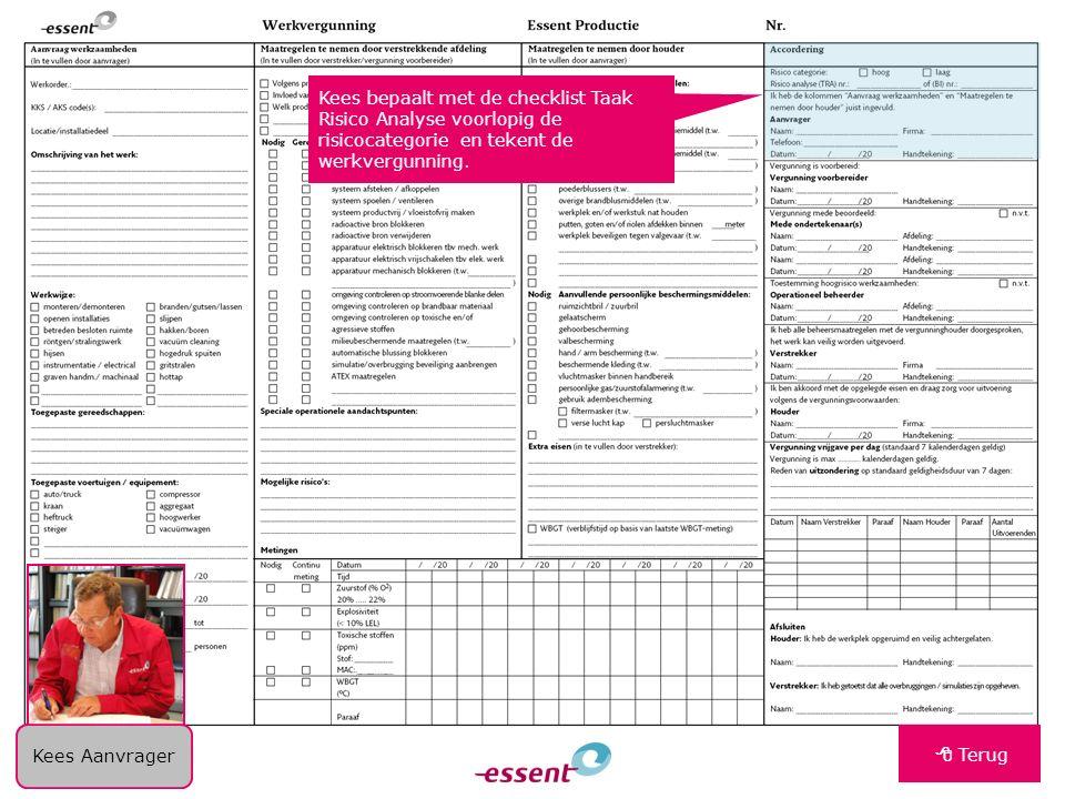 Kees bepaalt met de checklist Taak Risico Analyse voorlopig de risicocategorie en tekent de werkvergunning.  Terug Kees Aanvrager