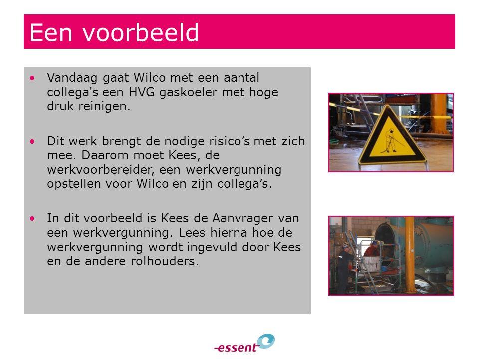 Een voorbeeld Vandaag gaat Wilco met een aantal collega's een HVG gaskoeler met hoge druk reinigen. Dit werk brengt de nodige risico's met zich mee. D