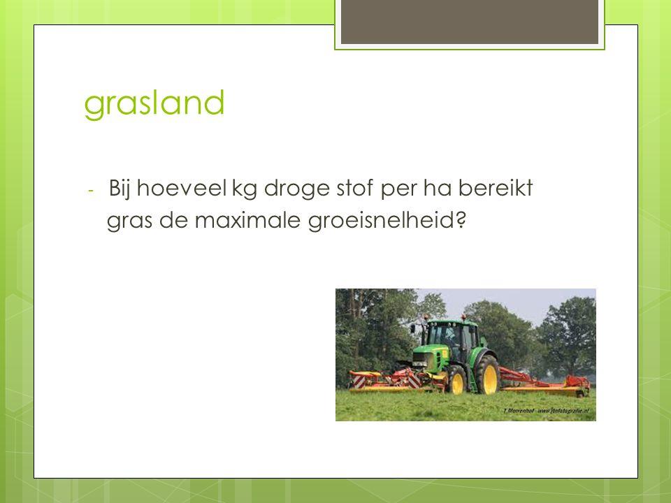 grasland - Bij hoeveel kg droge stof per ha bereikt gras de maximale groeisnelheid?